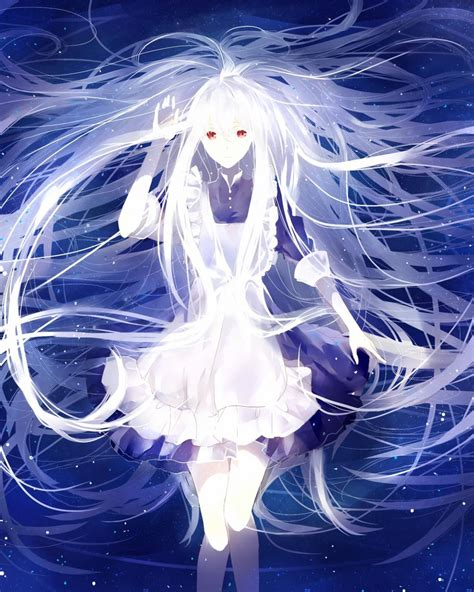 anime girl with white hair and red eyes kozakura mary anime girls kagerou project white hair