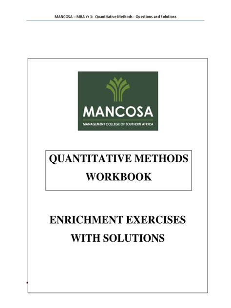 Quantitative Methods In Business Notes For Mba Pdf by Mba 1 Quantitative Methods Workbook Jan 2015 Statistical