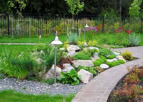 small rock garden ideas for front of house garden post
