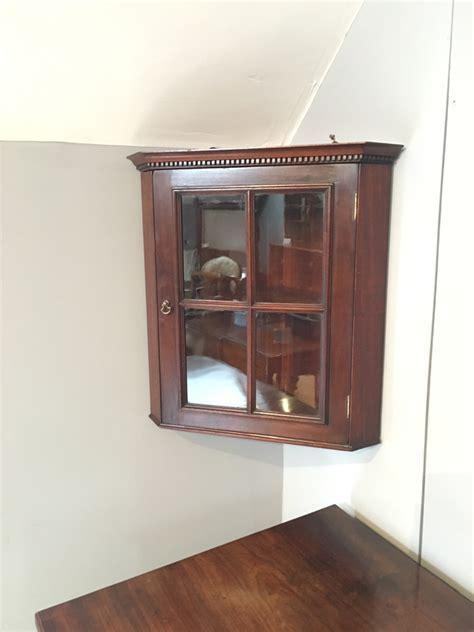 Small glazed corner cupboard, mahogany corner cupboard