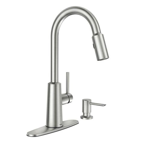 moen pullout kitchen faucet shop moen nori spot resist stainless 1 handle pull down