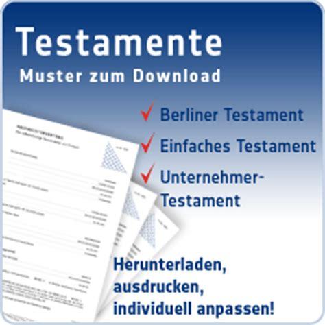 Kostenlose Vorlage Für Berliner Testament Testament Vorlagen Kostenlose Testament Muster