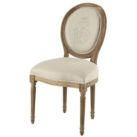 medallion chair in natural embroidered linen and greyed