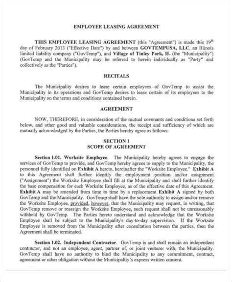 27 Lease Agreement Sles Sle Templates Employee Lease Agreement Template