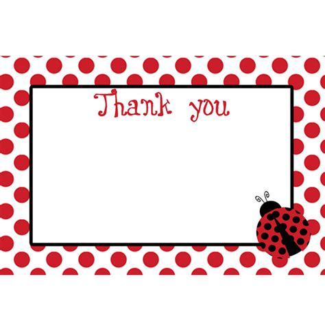 Ladybug Birthday Card Template by Bug Printable Thank You Card