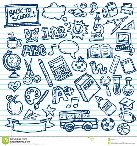 doodle school free school vector doodles stock vector illustration of math