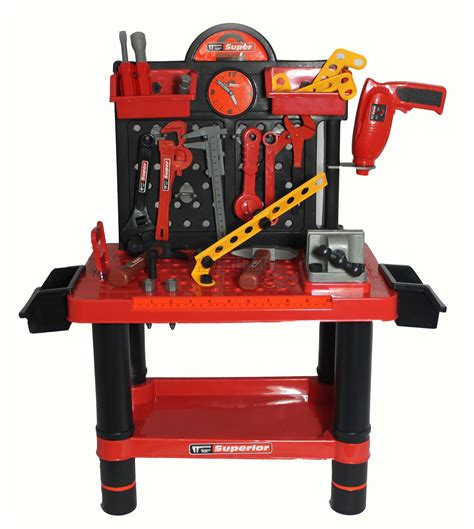 childrens tool bench 54pc children kids boys tool drill kit work bench set role