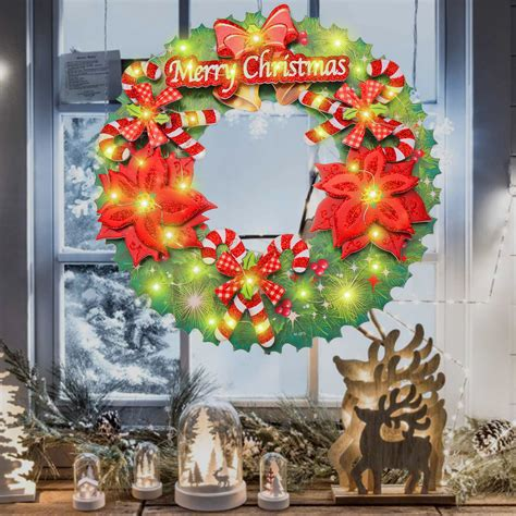 battery power led light up wreath hanging ornaments
