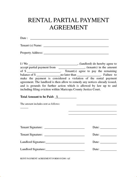 Letter Of Agreement For Partial Payment 3 Rent Agreement Form Teknoswitch