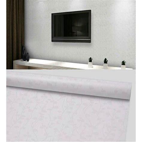 wallpaper sticker dinding murah putih polos bercorak