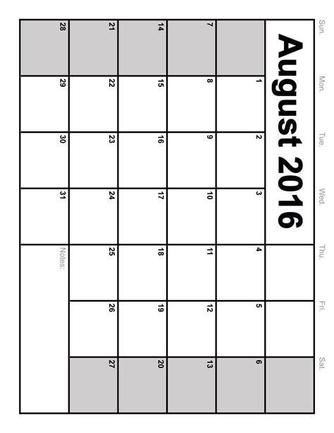 august 2016 calendar printable template 6 templates