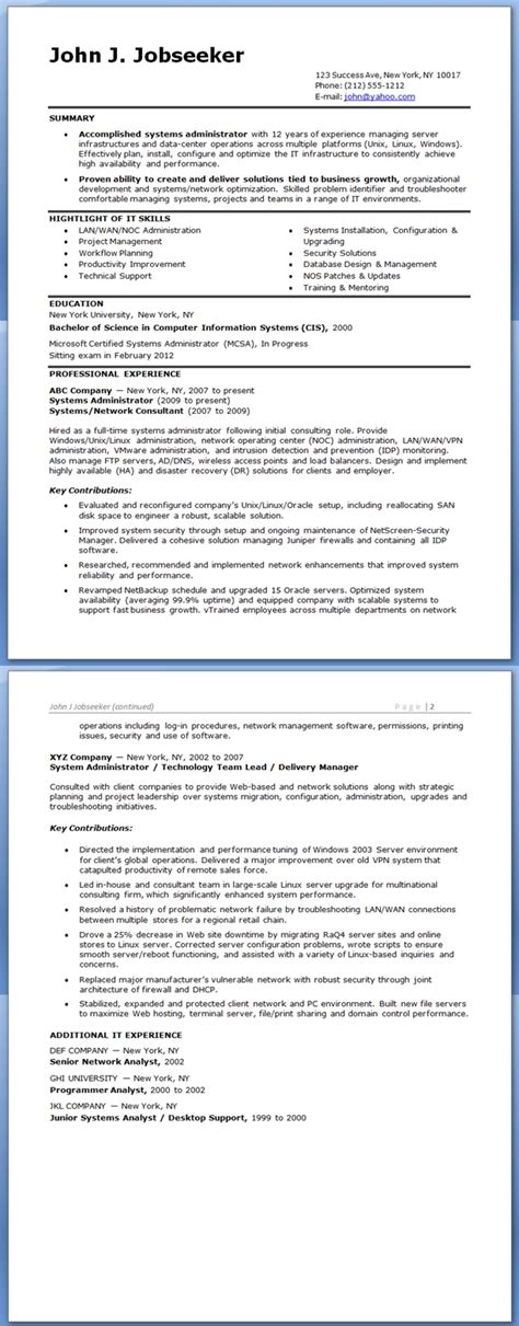 system administrator sample resumes download resume format templates