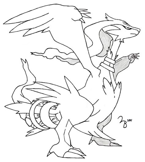 pokemon coloring pages of zekrom and reshiram pokemon reshiram lined by lazy bing on deviantart
