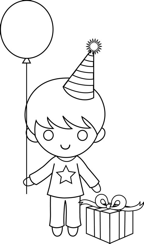 Birthday Boy Coloring Pages birthday boy coloring page free clip