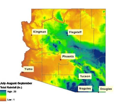 weather arizona map monsoon season in america extension