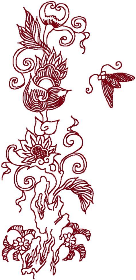 oriental designs redwork oriental flora 1 embroidery design