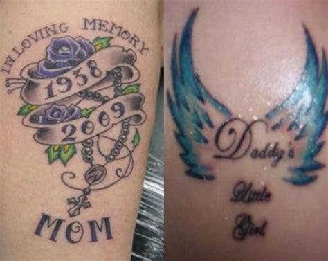 nice mom dad remembrance with memorable date tattoo