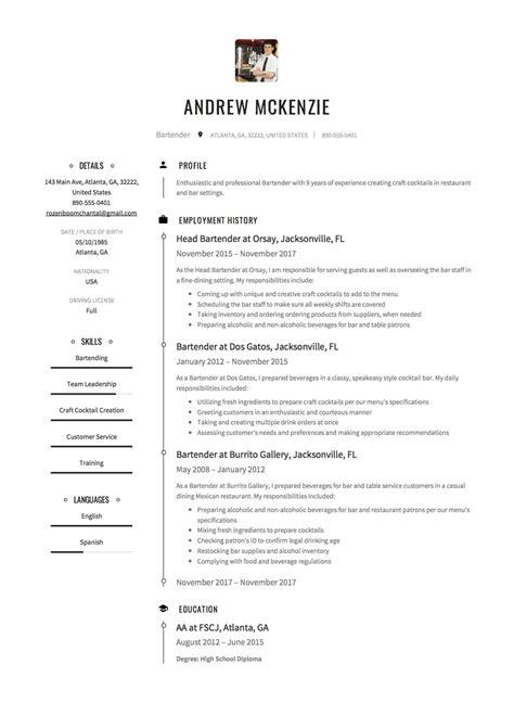 bartender resume sample template for bartender bartender cv sample