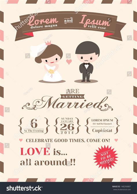 married card template wedding invitation card template groom stock vector