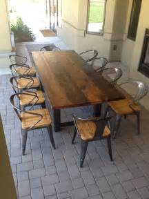 Wood Patio Dining Table Reclaimed Wood And Steel Outdoor Dining Table 1 The Coastal Craftsman Outdoor