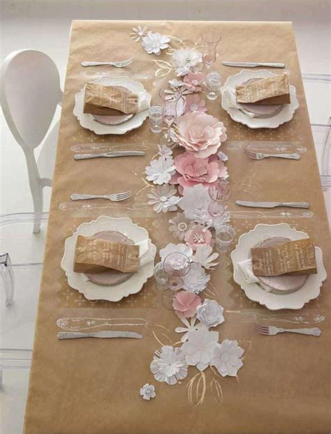 craft paper table runner paper flower runner cut out petals and assemble diy