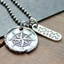 Compass Necklace personalized silver compass and custom coordinates