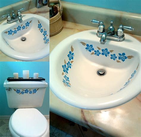bathroom sink decals blue walls and brown countertop are pulled together nicely