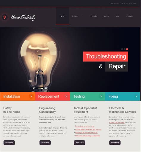 Free Electrician Website Template 16 Electrician Website Themes Templates Free Premium Templates