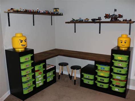 diy corner lego table lego storage table desk using ikea trofast pinteres