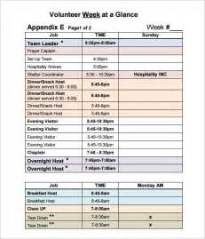 volunteer schedule template excel volunteer schedule templates 11 free word excel pdf