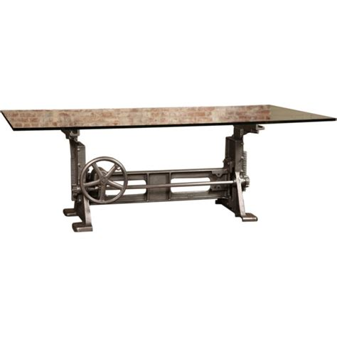 industrial crank table base vintage industrial adjustable machine age crank up factory
