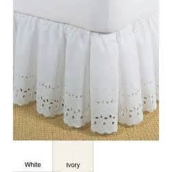 14 Inch Bed Skirt by Fresh Ideas Heirloom Ruffled Eyelet White 14 Inch
