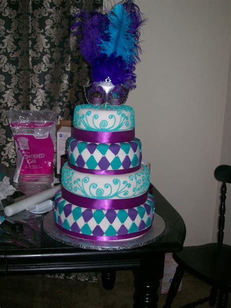 masquerade themed quinceanera cakes purple masquerade cake masquerade 15th cake possible