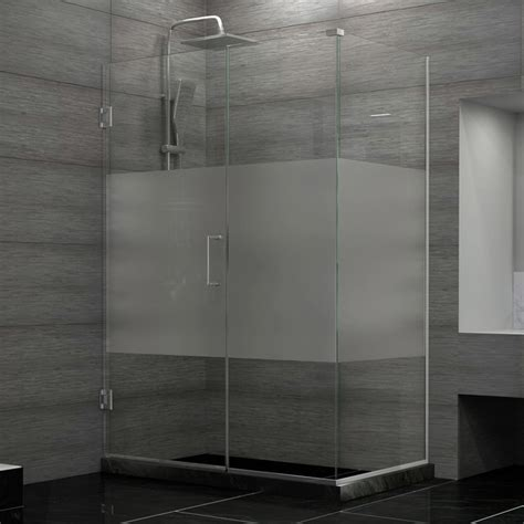 Unidoor Plus 37 Quot X34 3 8 Quot X72 Quot Hinged Shower Enclosure Half Frosted Shower Glass Doors