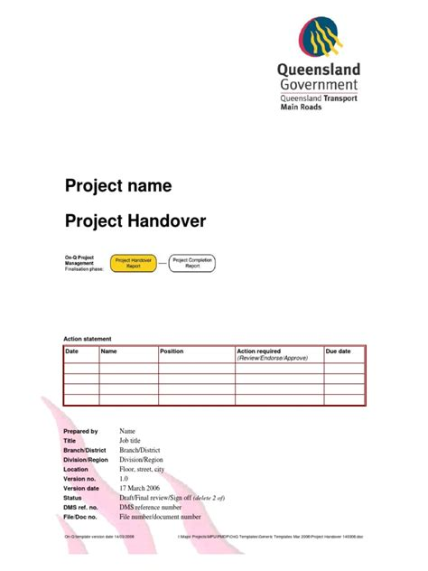 project handover document template project handover document click