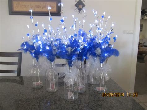 silver and blue table decorations wedding quinceanera centerpieces silver and royal