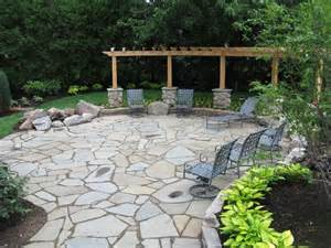 Flagstone Patio With Firepit Flagstone Patio Pergola And Pit Outdoor Living Spaces Pinte