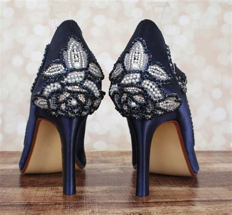 custom consultation design your own wedding shoes navy blue