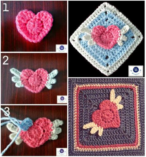 pattern for heart granny square free pattern lovely angel heart granny square