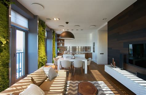 Ukrainian Apartment Interiors Musician | ukrainian apartment with vertical wall gardens design milk