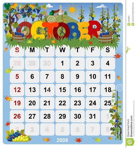 Calendario Octubre 2008 Monthly Calendar October 2 Stock Photos Image 3246863