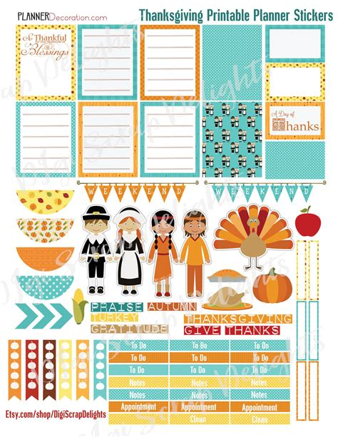 printable thanksgiving stickers free planner stickers new thanksgiving bundle