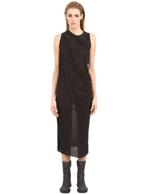 jersey drape dress rick owens draped bamboo jersey dress in black lyst