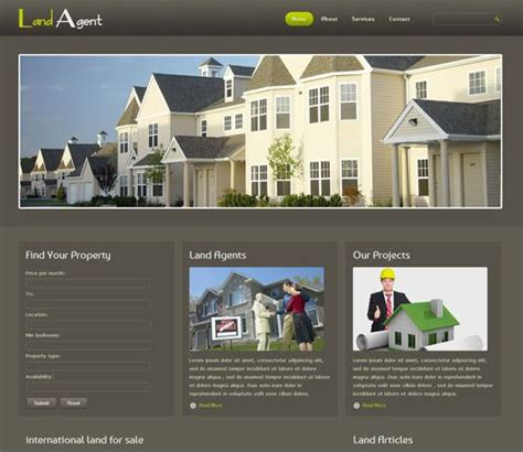 Website Templates For Real Estate Agents Free Free Website Template Css Html5 Land Agent Real Estate Mobile Website Template Free Real