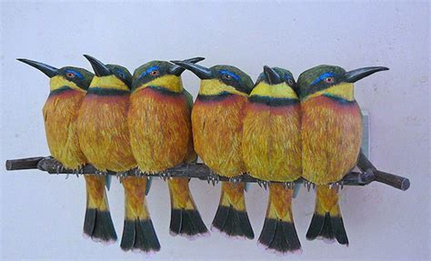Paper Craft Birds - realistic birds made from paper and watercolor paint by