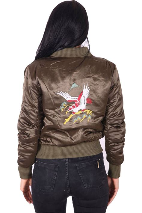 bird embroidered coat new womens eagle bird embroidered bomber jacket