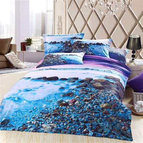sea bedding 3d blue purple sea beach bedding sets queen size cotton