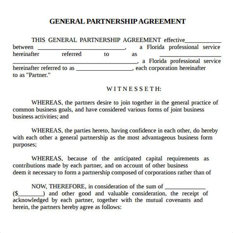 partner contract template partnership agreement sle real estate forms