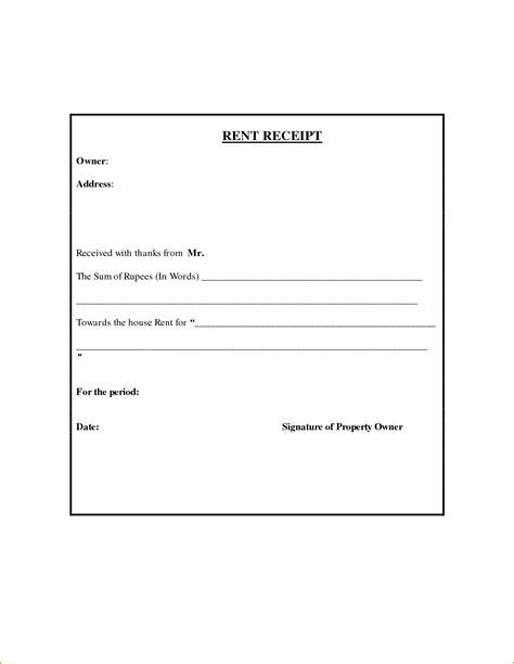 Received With Thanks Receipt Template by 7 Rent Receipt Word Teknoswitch