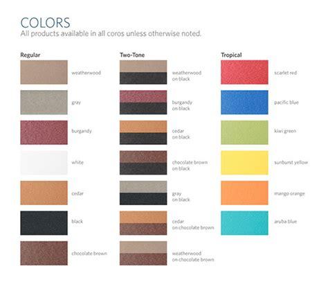 Landscape Structures Color Chart Furniture Colors Creekside Landscape Supply